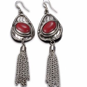Artisan Crafted Red Coral Tassel Earrings